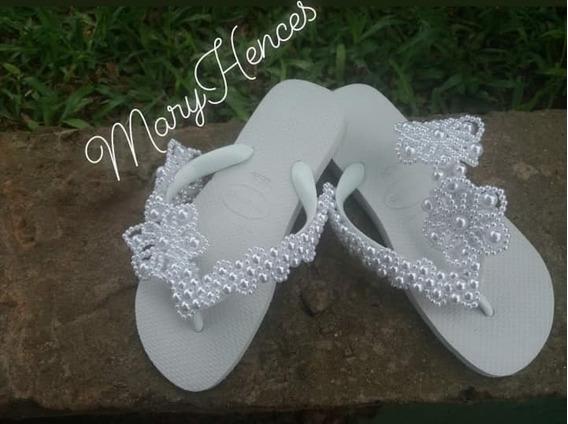 Chinelo Feminino Havaianas Branco Bordado Para Noivas