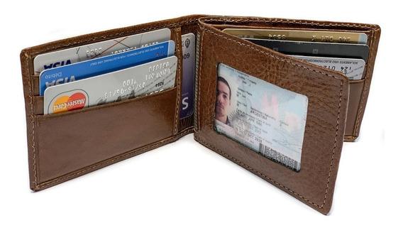 Billetera Hombre Cuero Capacidad Para 12 Tarjetas Porta Documentos Volante Grabado De Iniciales Modelo 0052