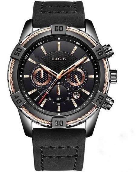 Relógio Lige Masculino Luxo Pulseira Em Couro Cronógrafo