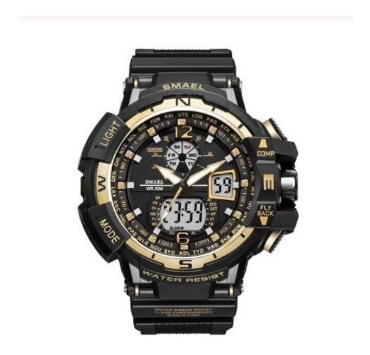 Relógio Smael 1376 Preto Com Dourado - Pronta Entrega