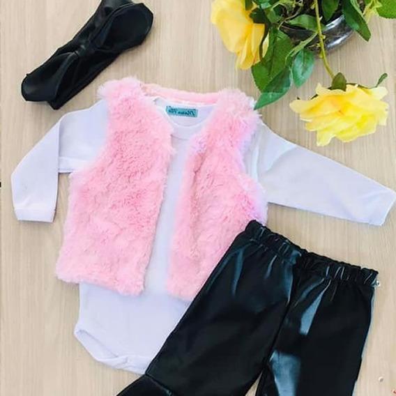 Conjunto Menina Bebê Colete Calça Flare Outono Inverno