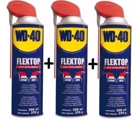 Kit Com 3 Wd-40 Desengripante/óleo 500ml Flextop- 340847