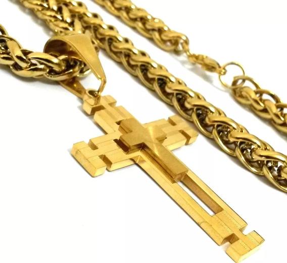 Crucifixo E Corrente Masculina Tamanho G Folheados Ouro 18k!