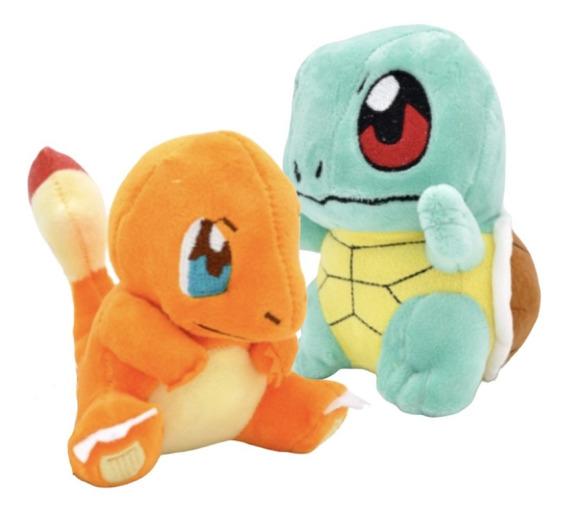 Kit 2 Pokémons Pelúcia 15cm Charmander Squirtle Promoção