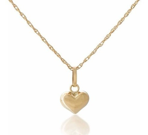 14k Oro Amarillo De Las Niñas Abultada Corazón Colgante 18