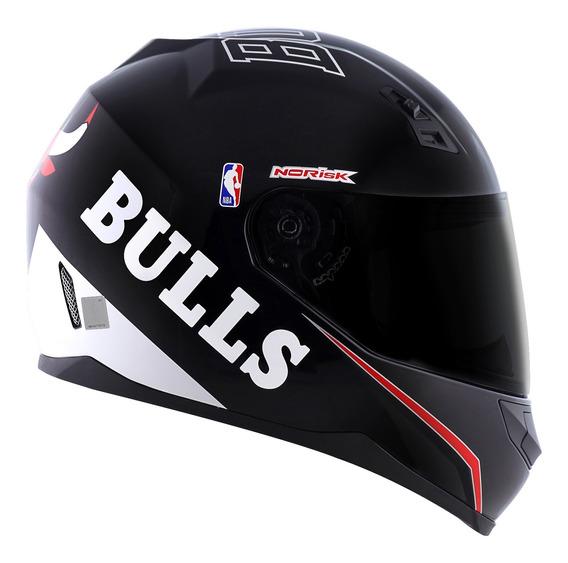 Capacete Norisk Coleção Nba Chicago Bulls Preto Basquete