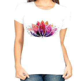 Camiseta Baby Look Roupa Feminina Psicodélica Flor De Lótus