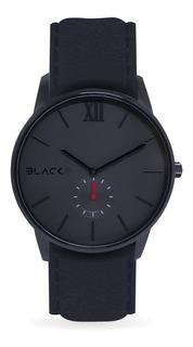Reloj De Vestir - Poker Black - Malla De Cuero Negra