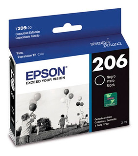 Cartucho Epson T206 Negro Original Tinta 3 Ml T206120 Xp2101