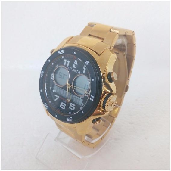 Relógio Masculino Dourado Atlantis Original Anadigi Grande