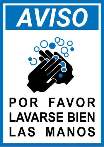 Cartel Lavarse Las Manos - 28 X 20 Cm