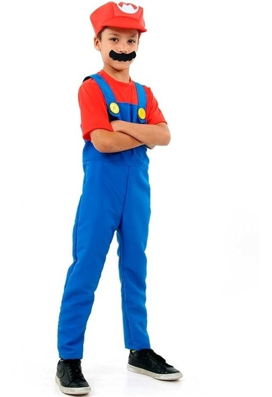 Roupa De Luxo Infantil Super Mario Brós Com Chapéu E Bigode