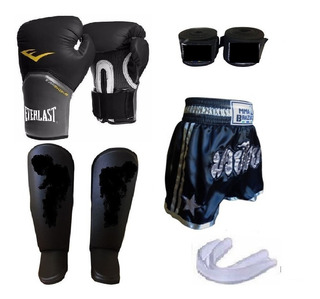 Kit Masculino Muay Thai+ Short Acessórios Bandagem 5m