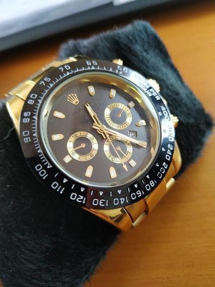 Rolex Pulseira Dourado - Fundo Preto Com Dourados