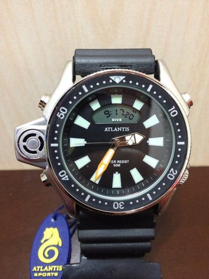 Relogio Atlantis G3220 Serie Prata Aqualand Co22 =citzen