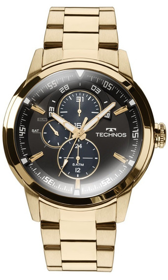 Relógio Masculino Technos Grandtech Dourada 6p57aa/4p