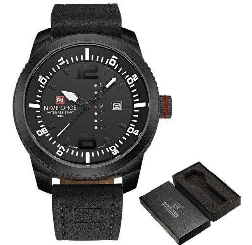 Relógio Naviforce Masculino Preto/couro Grande Aço Inox