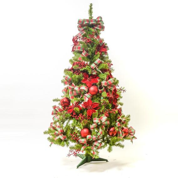 Kit Árvore De Natal Decorada 350 Hastes 1,5m C/54 Enfeites