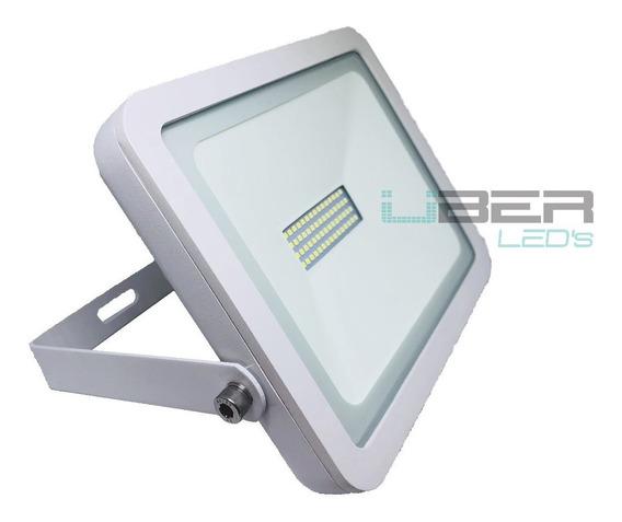 Refletor Led Holofote Led Slim Corpo Branco 50w Externo Ip66