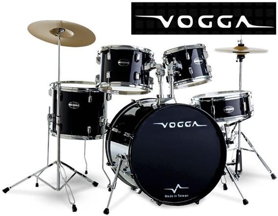 Bateria Vogga Talent Completa Preta - Bumbo 20 - Nf E Grtia