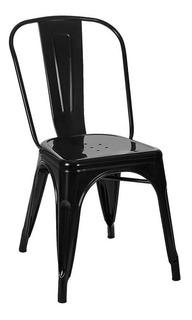 Silla De Diseño Tolix Negra Vintage Hierro Kromo-s X2
