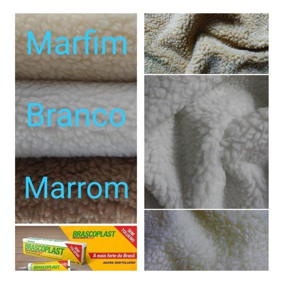 5 Tecido Carapinha Lã Ovelha Pelúcia Natural + 1 Brascoplast