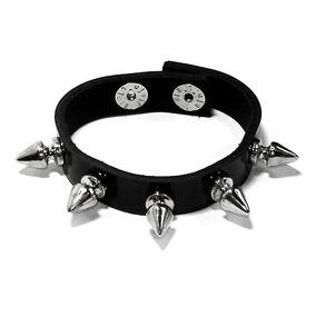 Pulseira Bracelete Couro Spike Rock Preto Metal Punk Moto