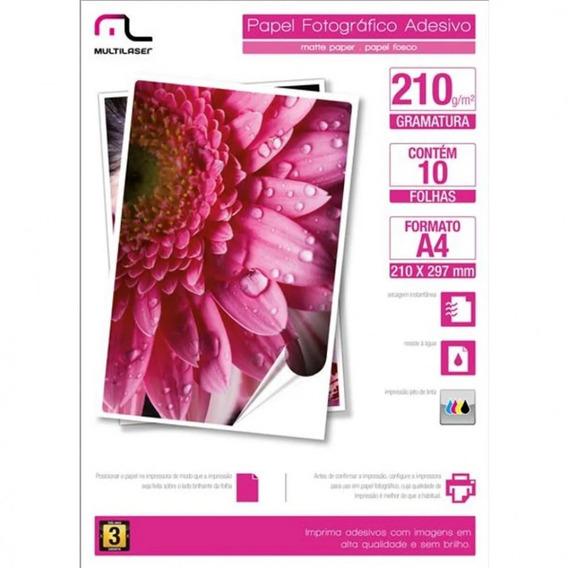 Papel Fotográfico Adesivo 210g/m2 A4 Com 10 Folhas Multilas