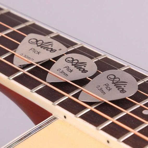 Kit De Palhetas Com 3 Unidades Para Guitarra/violão - Aço