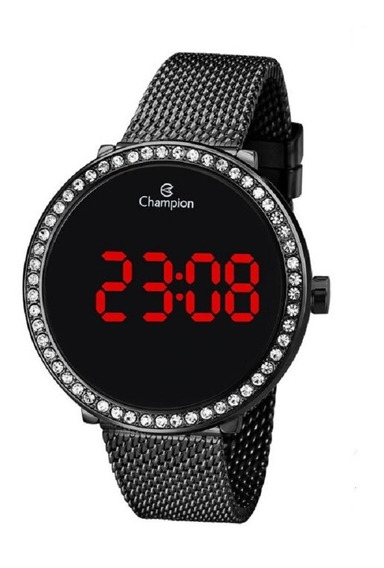 Relógio Champion Feminino Digital Led Ch48037d Preto