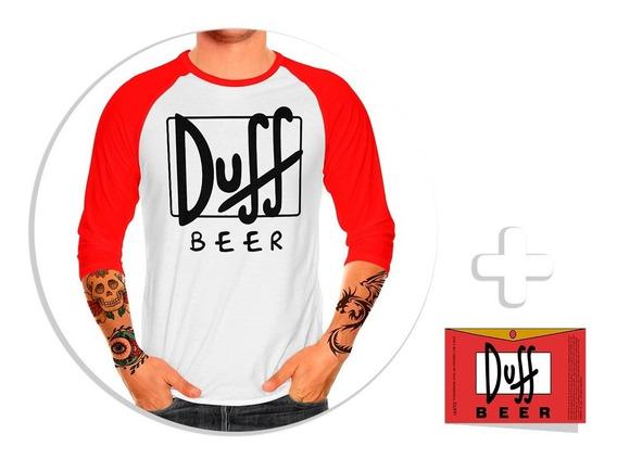 Envío Gratis Playera Raglan Caballero Duff Beer + Sticker