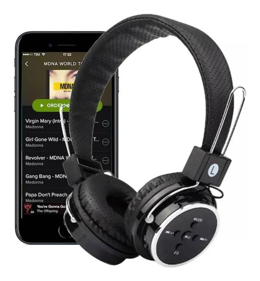 Headphone S/ Fio Bluetooth Chamadas Sd Fm Mp3 Usb Aux P2 B05