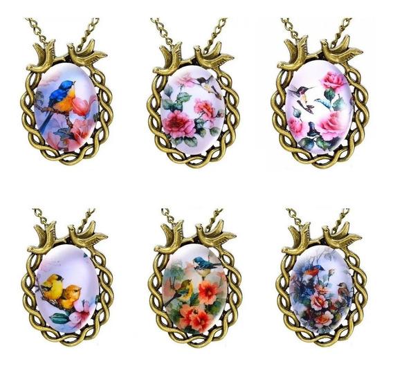 Collar Aves Colibrí Bello Regalo Dama Única Flor Vintage