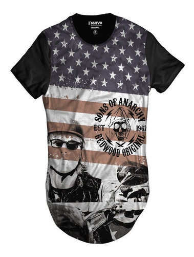 Imagem 1 de 2 de Camiseta Longline Samcro Jax Teller Sons Of Anarchy Redwood