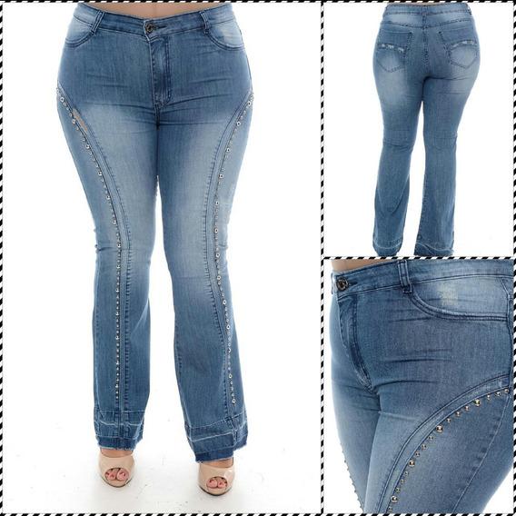 Calça Jeans Plus Size Com Aplicação De Pedras