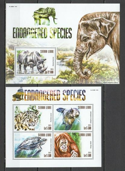 2015 Fauna - Pantera- Tortuga- Elefante - Sierra Leona Mnh