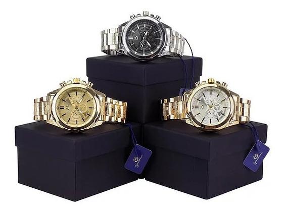 Relógio Orizon - Kit Com 3 Unidades Dourado E Prata + Nota