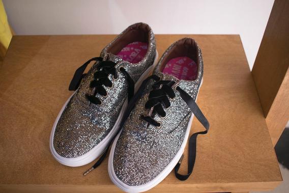 Zapatillas Mujer Rocas Plateadas Brillos Verano 2020