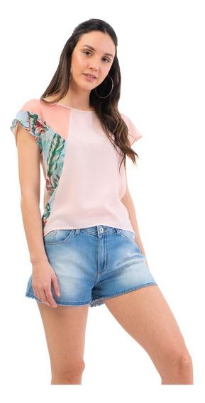 Remera De Creppe Con Recortes Mia Loreto Modelo Bromelia