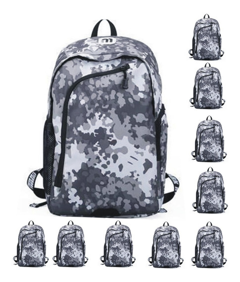 Mochila Notebook Lote X10 Mayor Local Camuflada Impermeable