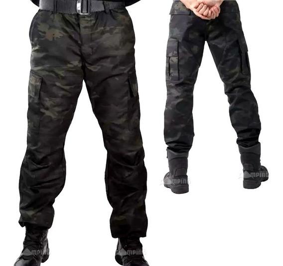Calça Camuflada Multicam Black Tatica 6 Bolsos 100% Ripstop