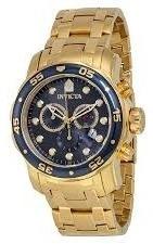 Invicta Pro Diver Chronograph Blue Dial Banhado A Ouro 18kt