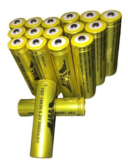 Kit 5 Bateria Recarregável 18650 9800mah 4.2v Lanterna Laser