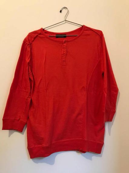 Camiseta Zara Manga 3/4 Laranja Tam. G Usada