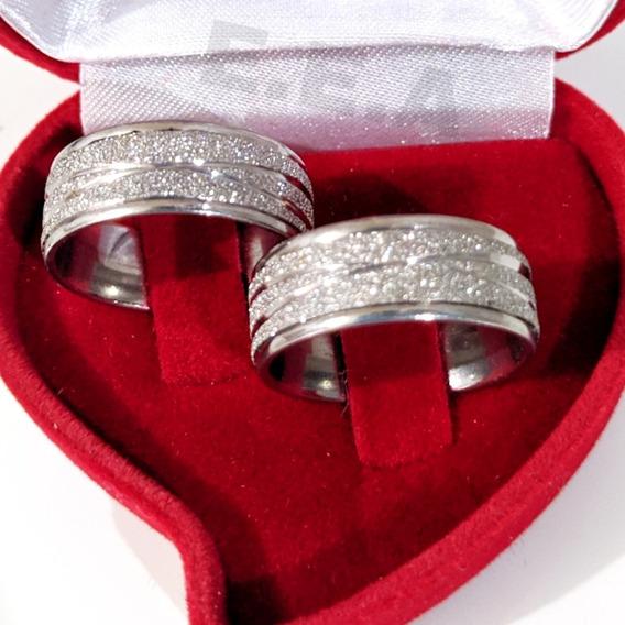 Par De Alianças Diamantadas Aço Inox E Caixinha