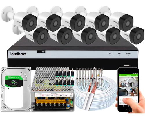 Kit Cftv 10 Cameras 3230b G4 2mp 30m Intelbras Dvr 3116 16ch