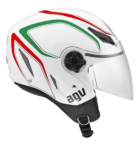 Capacete Aberto Agv Blade Tab Italy Branco Estacao Motos