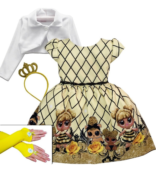 Vestido Boneca Lol Queen Be Roupa Aniversário Infantil