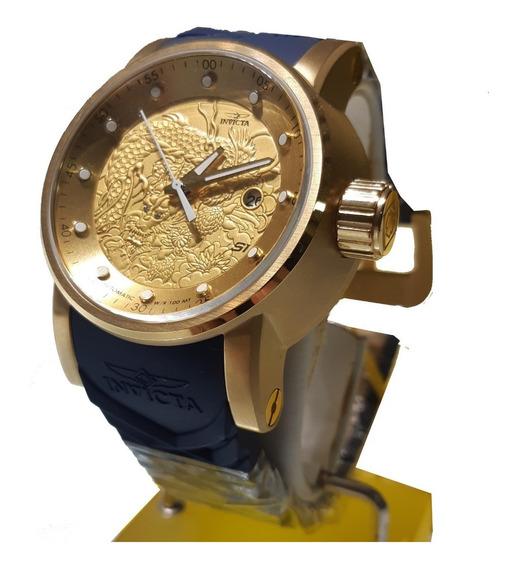 Relógio Invicta 18215 Dourado Dragao Azul * Yakuza