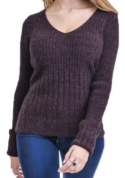 Sweater Hilado Termic Mujer Escote En V Marca Mauro Sergio